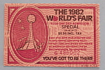 Click here to enlarge image and see more about item 7043: Knoxville, Tenn. World's Fair Ticket-1982-Admission