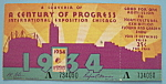 Century Of Progress Admission Ticket (Chicago Fair)