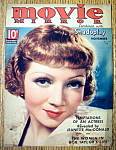 Movie Mirror Magazine Cover Nov 1935 Claudette Colbert