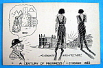 Click to view larger image of Cartoon Postcard w/Future Architecture (Chicago Fair) (Image1)