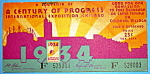 1934 Century of Progress, Ticket Stub
