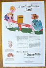 1923 Grape-Nuts Cereal with Children On See-Saw