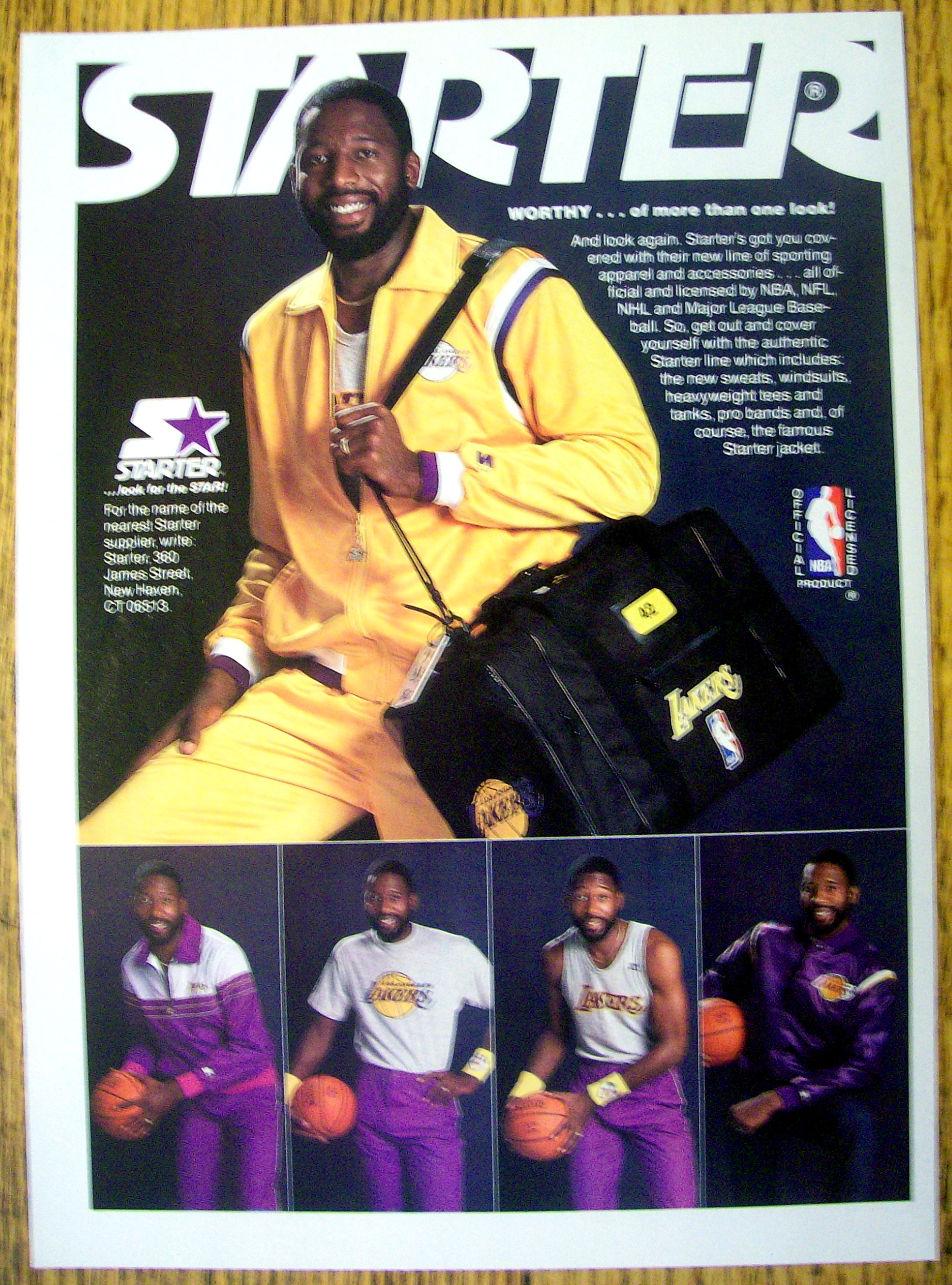 Ad 1986 Starter Jacket with James Worthy Basketball at Ads By Dee