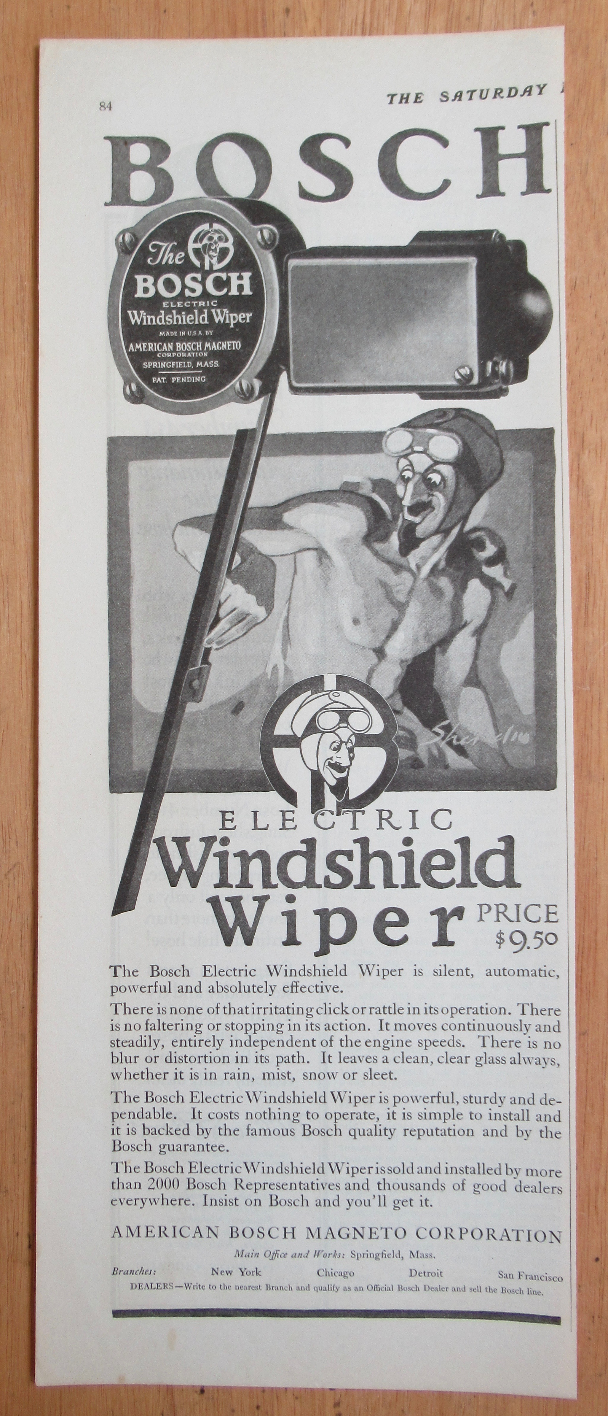 1924 Bosch Electric Windshield Wiper with an Evil Man (Parts) at Ads