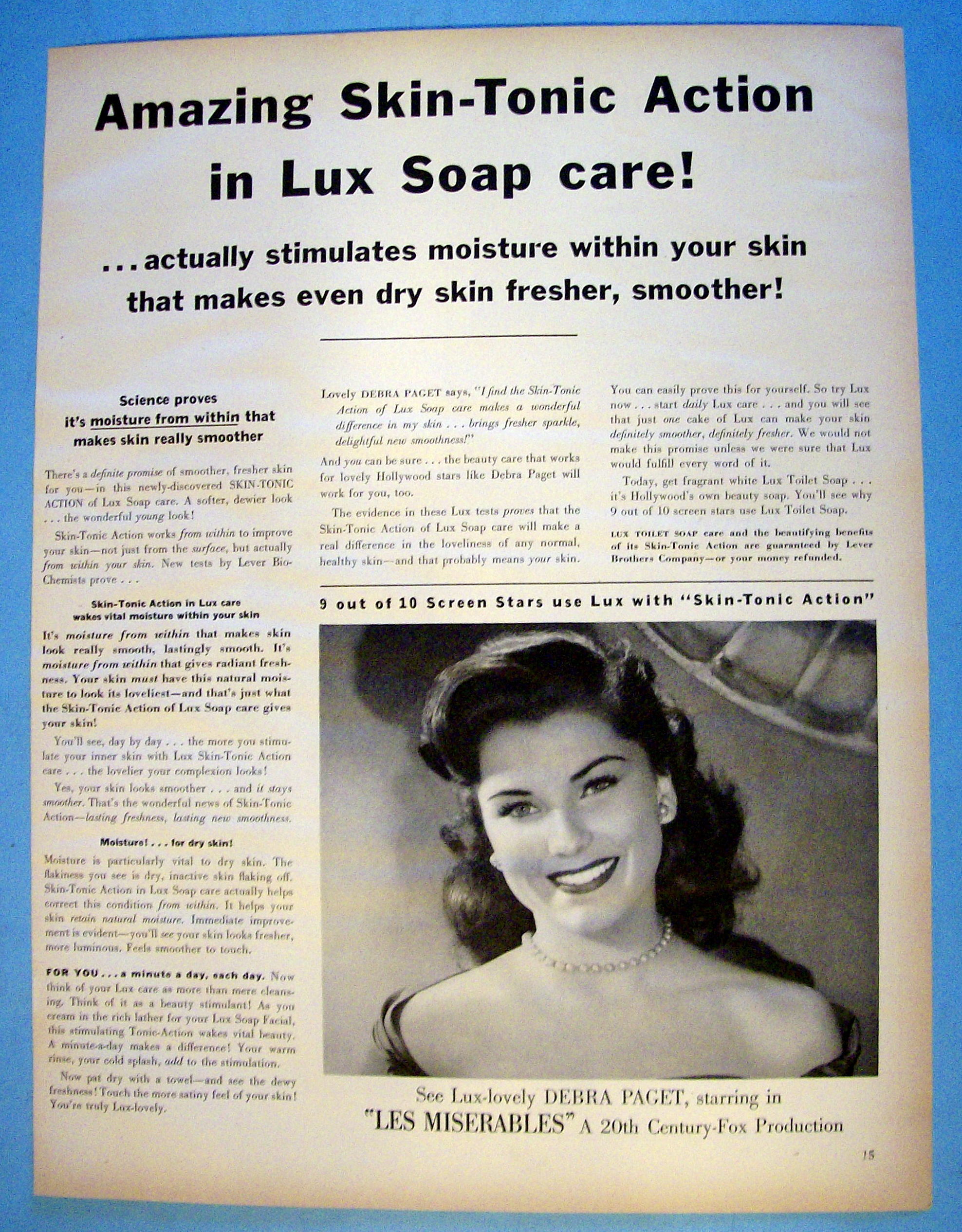Vintage Ad: 1952 Lux Soap with Debra Paget (Movie) at Ads By Dee