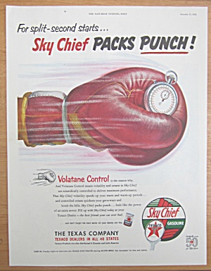 1952 Texaco Sky Chief Gasoline With Boxing Glove
