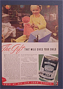 1938 White House Evaporated Milk w/ Little Girl & Doll (Image1)
