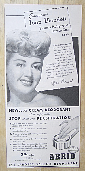 Vintage Ad: 1945 Arrid Deodorant With Joan Blondell