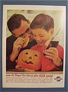 1963 Pepsi-cola (Pepsi) W/man & Boy And Carved Pumpkin