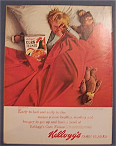 1963 Kellogg's Corn Flakes With Boy Laying In Bed