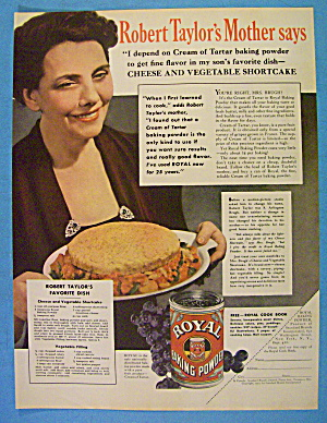 1937 Royal Baking Powder W/robert Taylor's Mother
