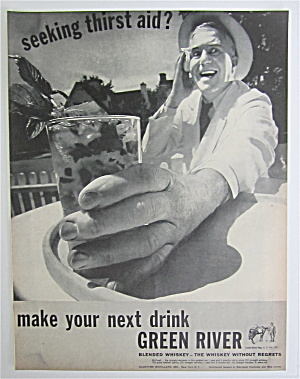 1937 Green River Whiskey With Man Holding A Drink