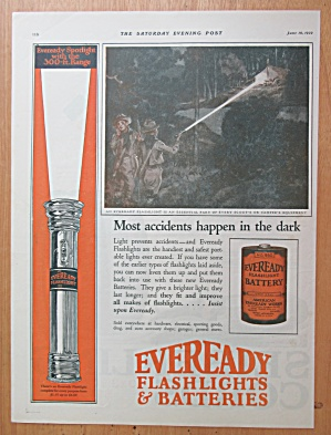 1922 Eveready Flashlight & Batteries With Boy Scouts