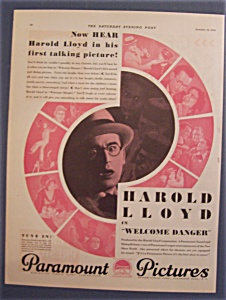 Vintage Ad: 1929 Paramount Pictures With Harold Lloyd