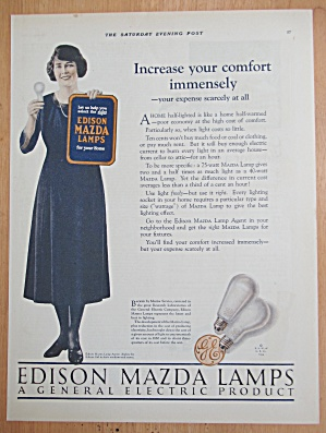 1924 Edison Mazda Lamps with Woman Holding Bulb (Image1)