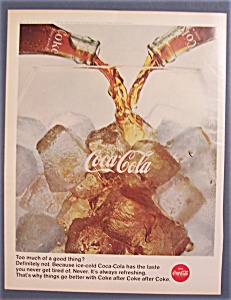1966 Coca-cola (Coke) With Glass With Ice & 2 Bottles