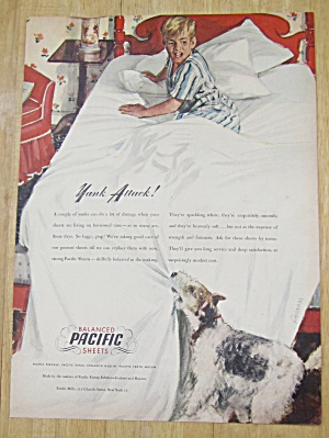 1945 Pacific Sheets w/Dog Pulling Sheets off Boy in Bed (Image1)