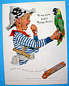 1957 Butter Rum Life Savers With Boy Holding Parrot