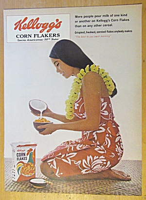 1965 Kellogg Corn Flakes w/Hawaiian Girl Having Cereal (Image1)