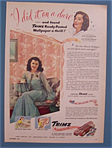 Vintage Ad: 1945 Trimz Wallpaper W/ann Rutherford