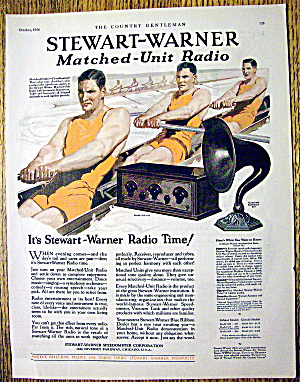 1926 Stewart-warner Radio With Men Rowing In Boat