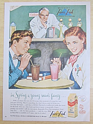 1951 Pure Pak Milk Container W/boy & Girl Drinking Milk