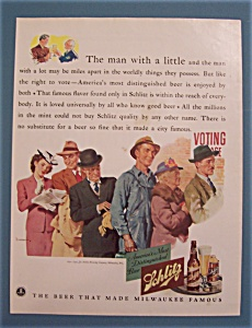 1941 Schlitz Beer With People Waiting In Line To Vote