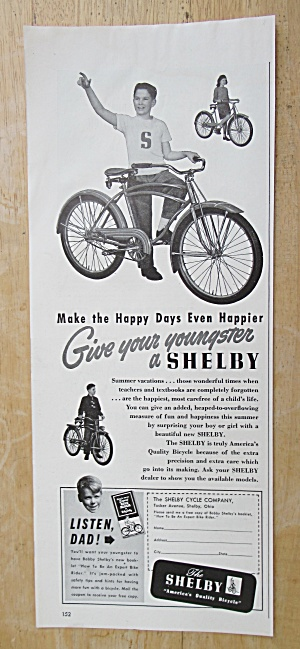 1947 Shelby Bicycle with Boy Standing By His Bike  (Image1)