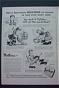 1943 Scottissue Toilet Paper with Girl Vacuuming  (Image1)