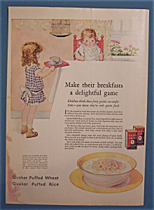 Vintage Ad: 1925 Quaker Puffed Wheat & Rice Cereal (Image1)