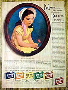 Vintage Ad: 1941 Kre-Mel Dessert with Marie (Image1)