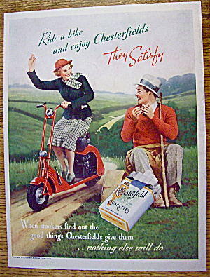 1937 Chesterfield Cigarettes With Woman Riding Bike