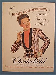 1939 Chesterfield Cigarettes w/Woman Smoking Cigarette (Image1)