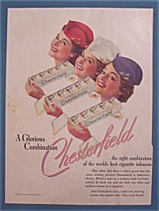 1939 Chesterfield Cigarettes W/3 Women & Cartons