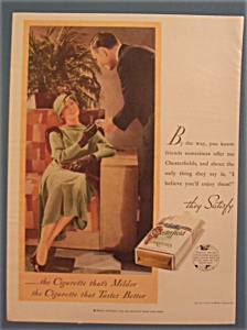 1933 Chesterfield Cigarettes w/Woman Taking Cigarette (Image1)