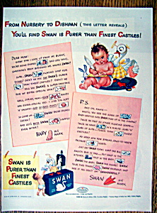 1943 Swan Floating Soap with Little Baby Sitting  (Image1)