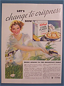 1934 Kellogg's Corn Flakes Cereal with Woman In Grass (Image1)