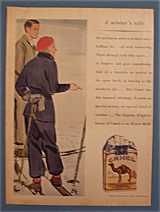 1931 Camel Cigarettes With A Man & Woman In Skis
