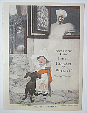 1918 Cream Of Wheat Cereal With Little Boy & His Dog