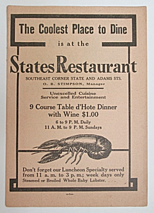 1911 States Restaurant with Lobster  (Image1)