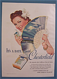 1939 Chesterfield Cigarettes W/woman Holding Fan