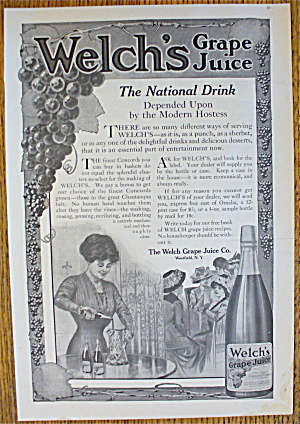 1911 Welch's Grape Juice With Woman Pouring Grape Juice