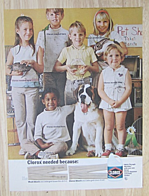 1968 Clorox Bleach with 6 Children & Their Pets  (Image1)