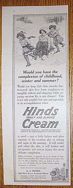 1915 Hinds Honey & Almond Cream with Woman On Sled (Image1)
