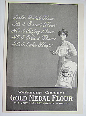 1907 Gold Medal Flour With Woman Pointing To Chalkboard