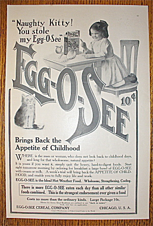 1907 Egg-o-see With Little Girl Eating At The Table