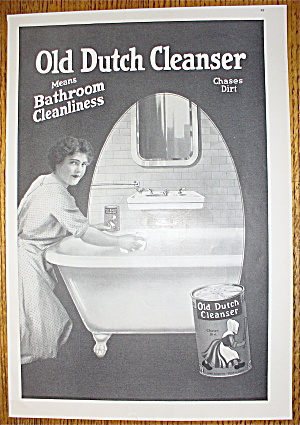 1914 Old Dutch Cleanser With Woman Cleaning Bathtub