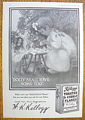 1914 Kellogg's Toasted Corn Flakes W/girl & Tea Party