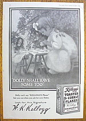 1914 Kellogg's Toasted Corn Flakes w/Girl & Tea Party (Image1)