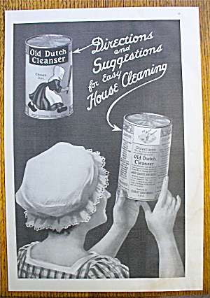 1914 Old Dutch Cleanser With Woman Holding Can